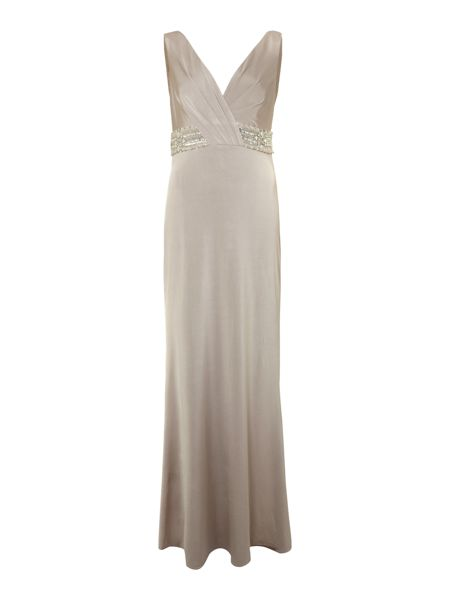 JS Collections Beaded V Neck Dress