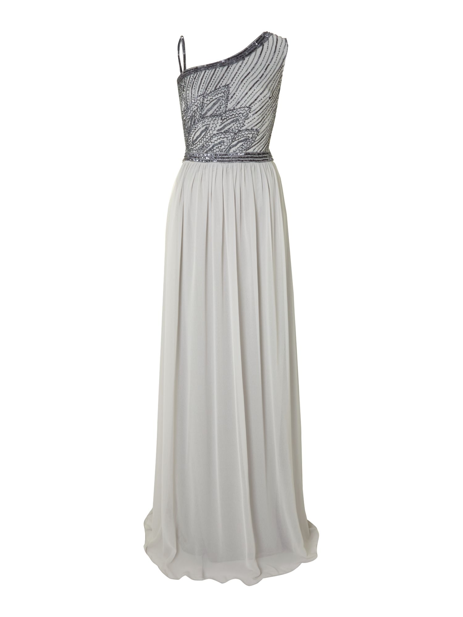 JS Collections Leaf beaded chiffon dress, Grey