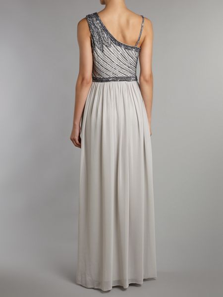 JS Collections Leaf Beaded Chiffon Dress