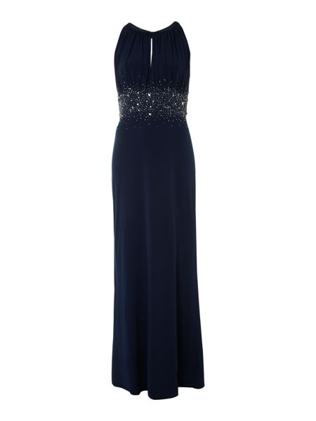 Jewel waist keyhole maxi dress