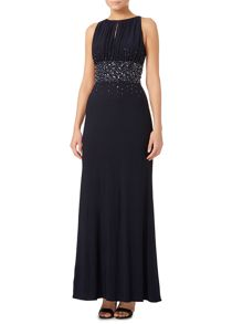 JS Collections Jewel waist keyhole maxi dress