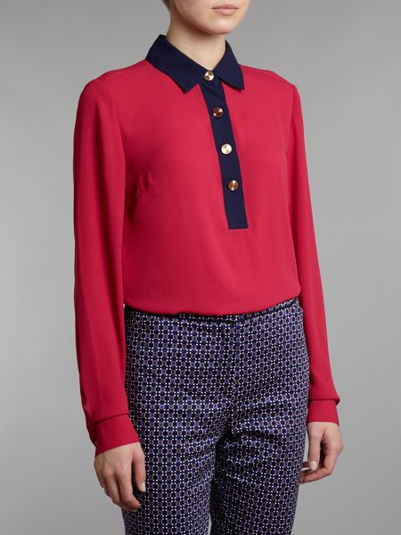 Adrianna Papell Lonig Sleeve Shirt Blouse With Collar