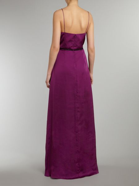 JS Collections Belted satin maxi dress