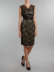 Lace V Neck Shift Dress with Illusion Neck