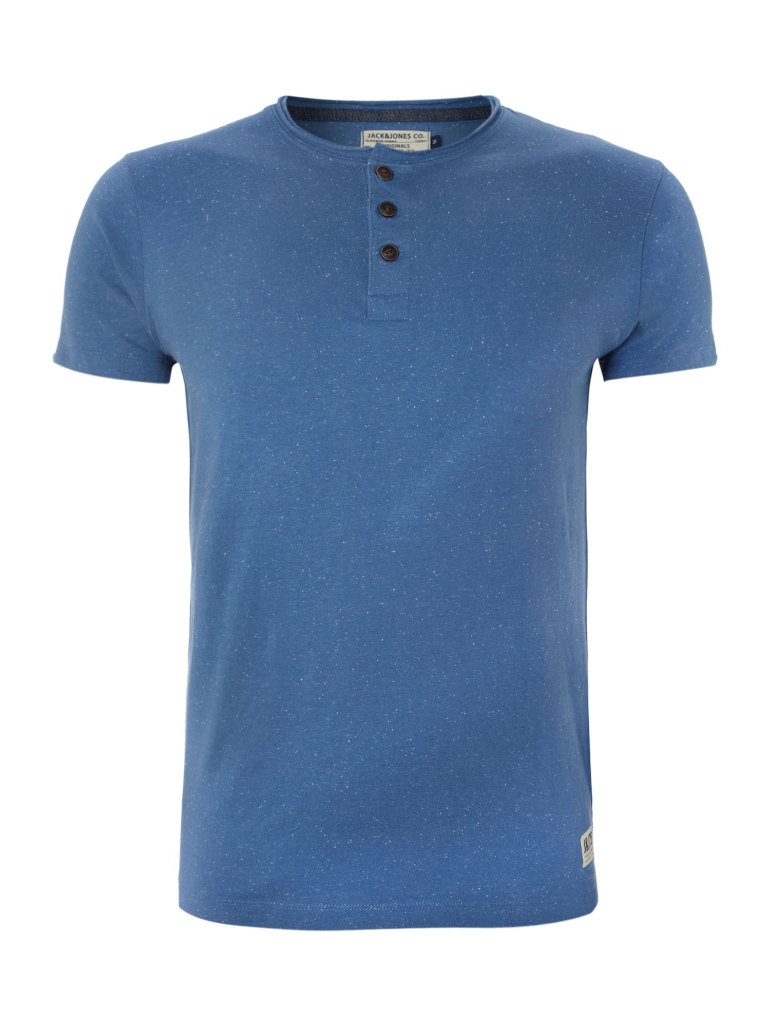 Short-sleeved henley neck T-shirt