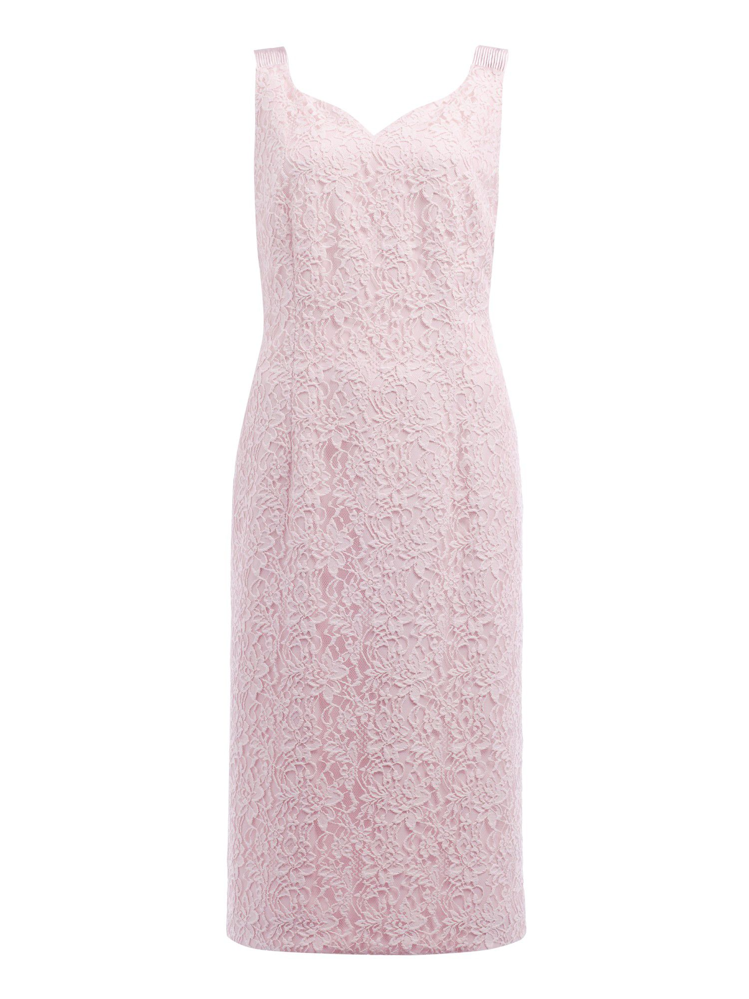 Shell pink lace shift dress
