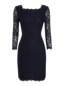Adrianna Papell Long Sleeve Lace Dress