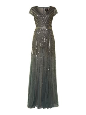 Adrianna Papell Beaded Maxi Dress