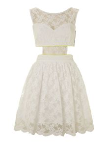 Sleeveless cut out lace dress with fluoro piping