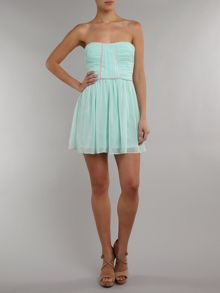 Lashes Strapless crush pleat bandeau dress