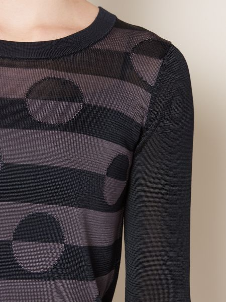 Linea Stripe and circle long sleeve knit
