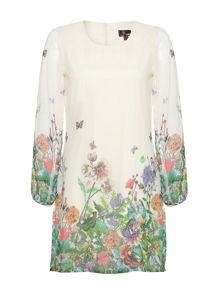 Butterfly and floral print dress