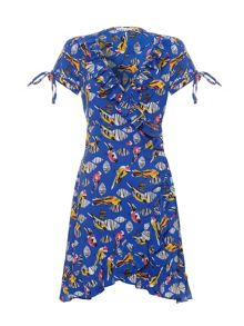 Tribal bird print wrap dress