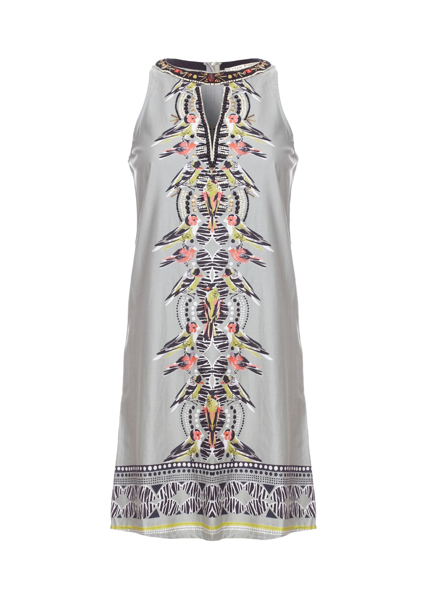 Tribal bird print tunic dress