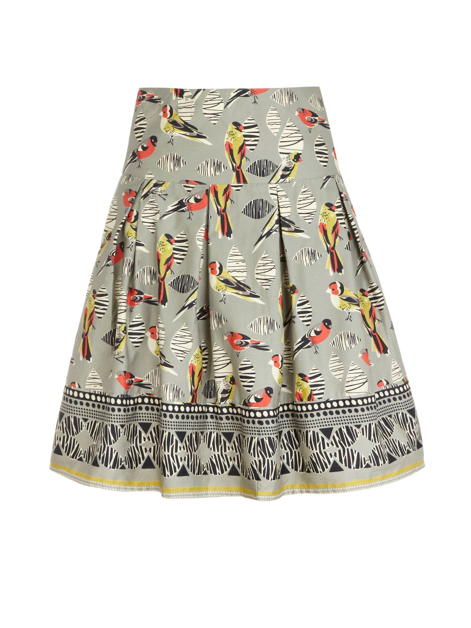 Tribal bird print cotton skirt