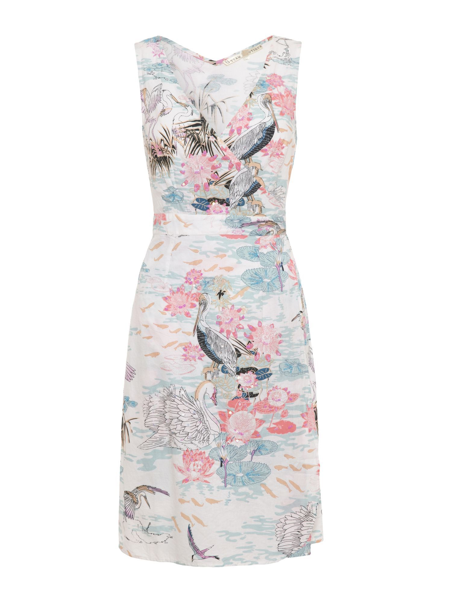 Oriental bird and water wrap dress