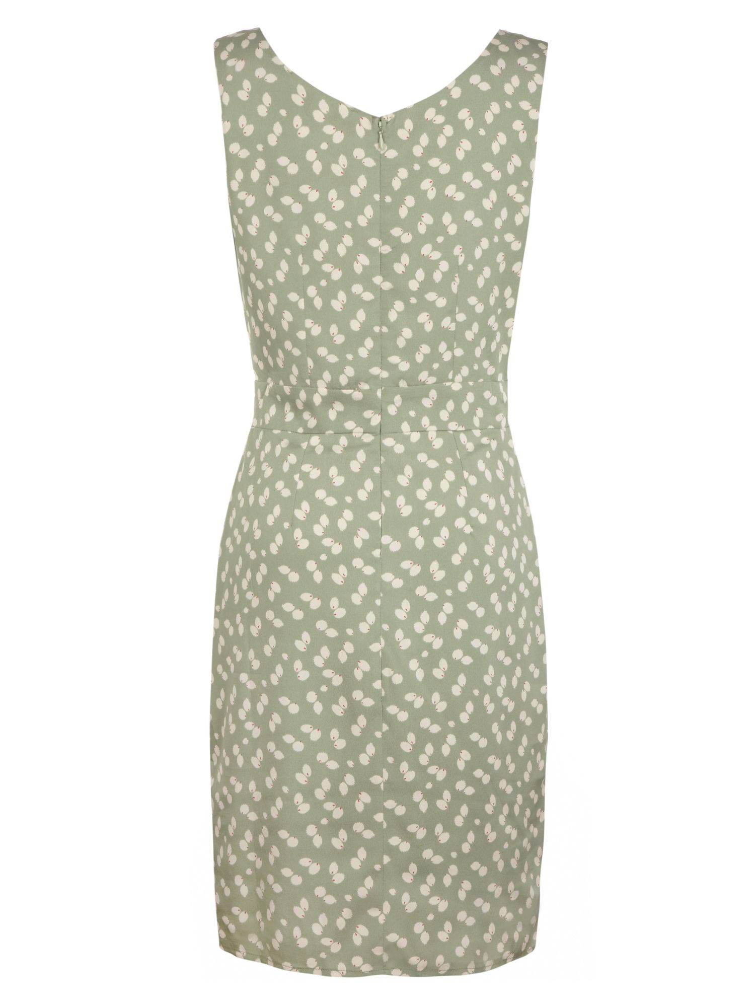 Leaf printed fitted dress