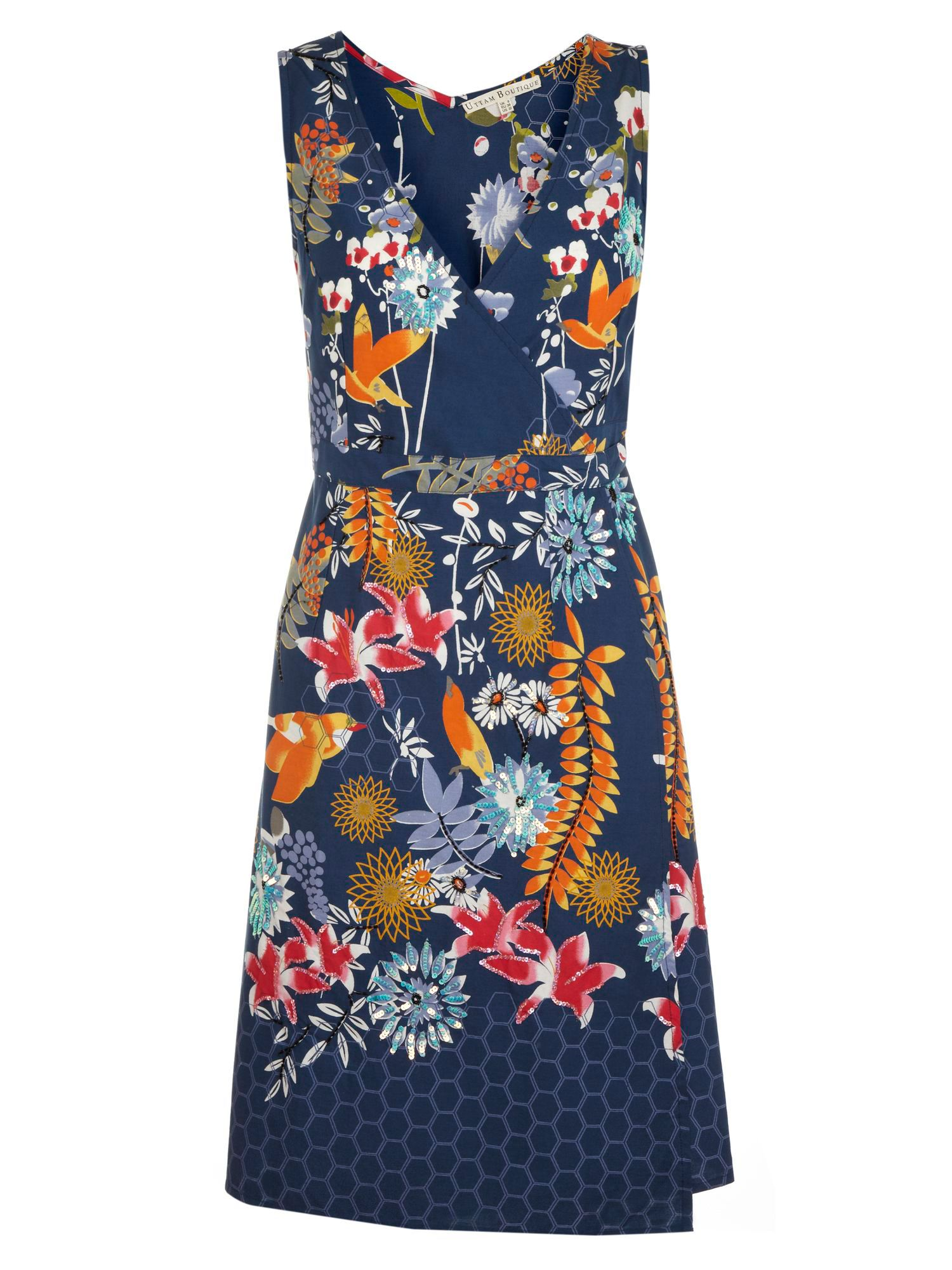 Oriental bird and floral wrap dress