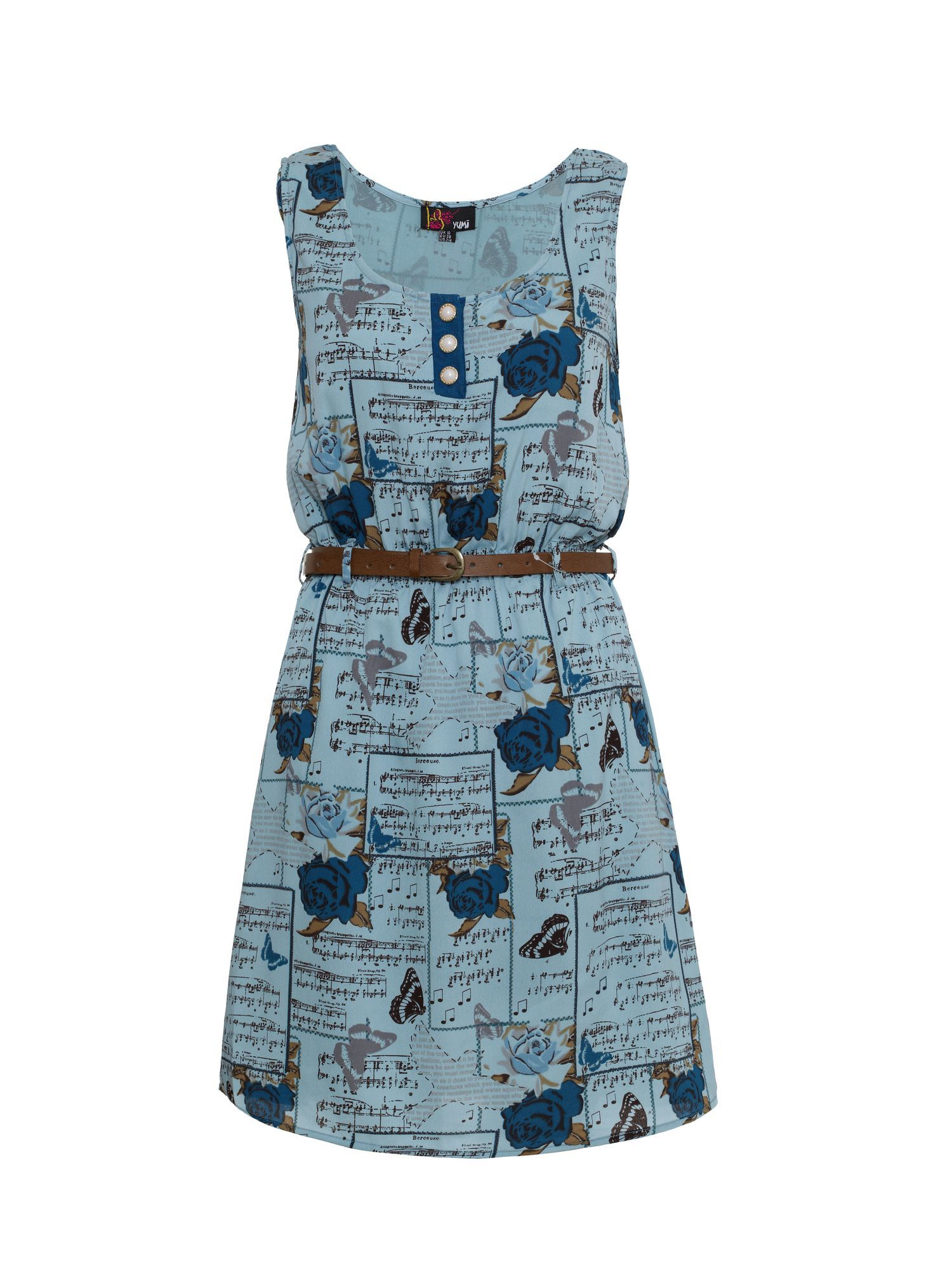 Rose and music print dress
