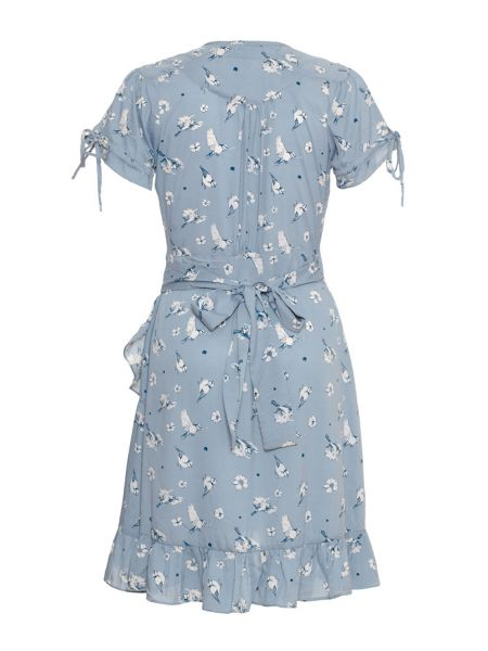 Yumi Boat print wrap dress