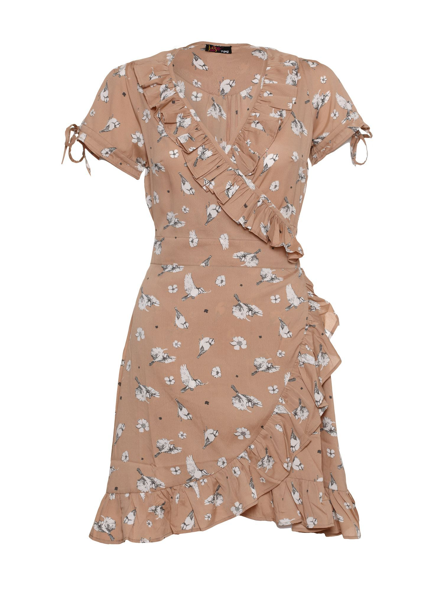 Boat print wrap dress