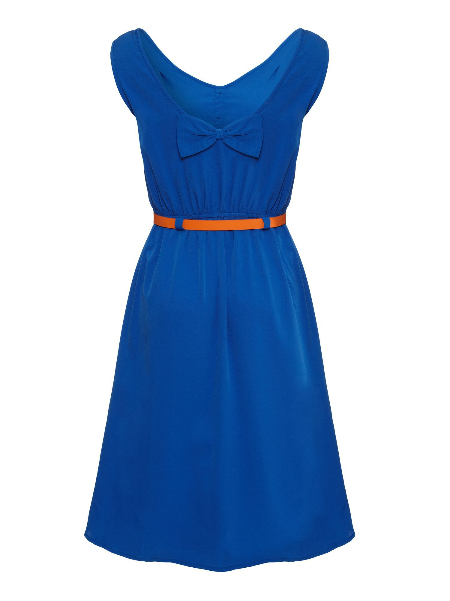 Belted dip-hem dress