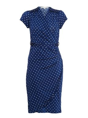 taam Boutique Dot Print Wrap Dress