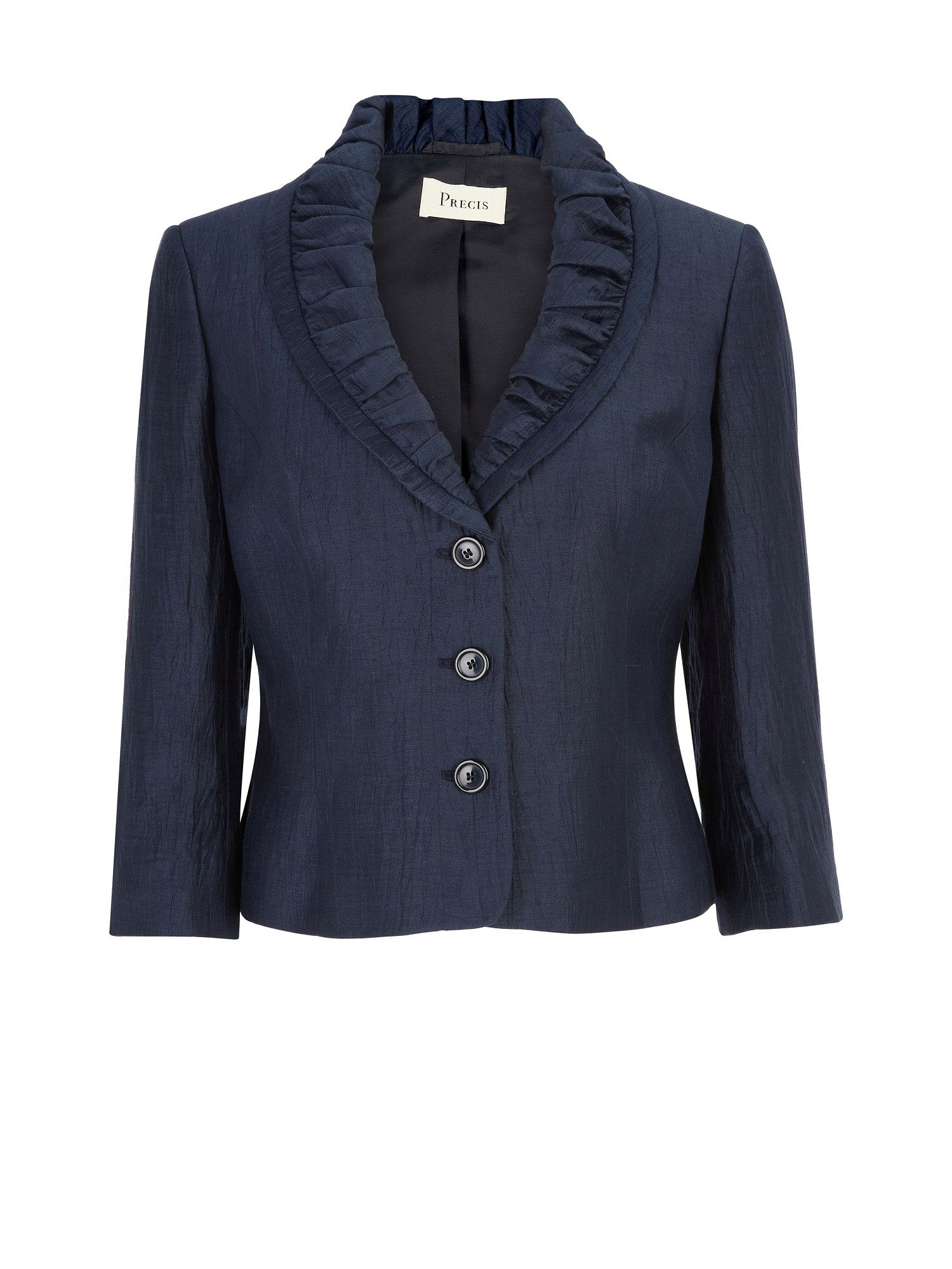 Midnight ruched collar crinkle jacket