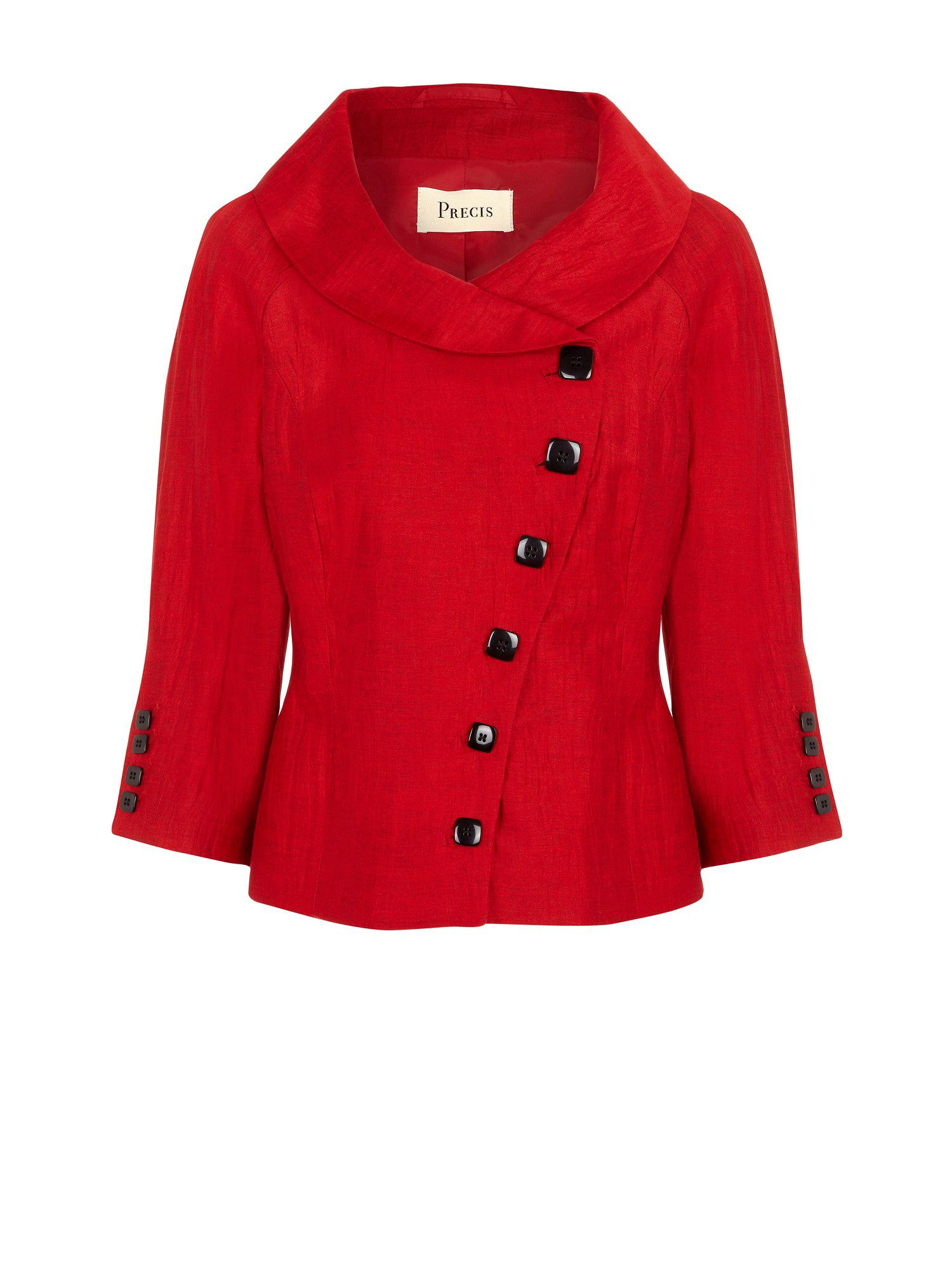 Red asymmetric jacket