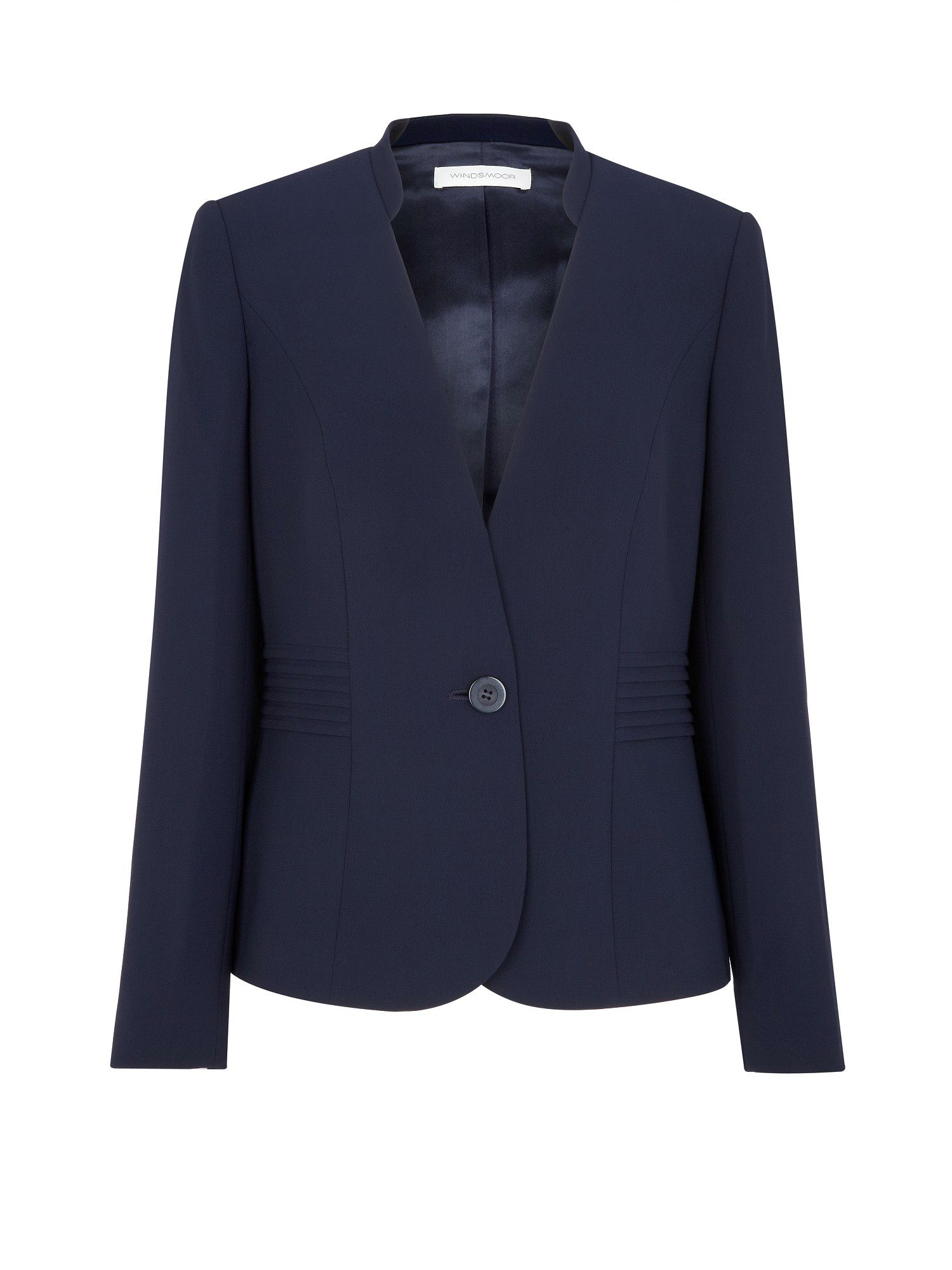 Navy pleat front jacket