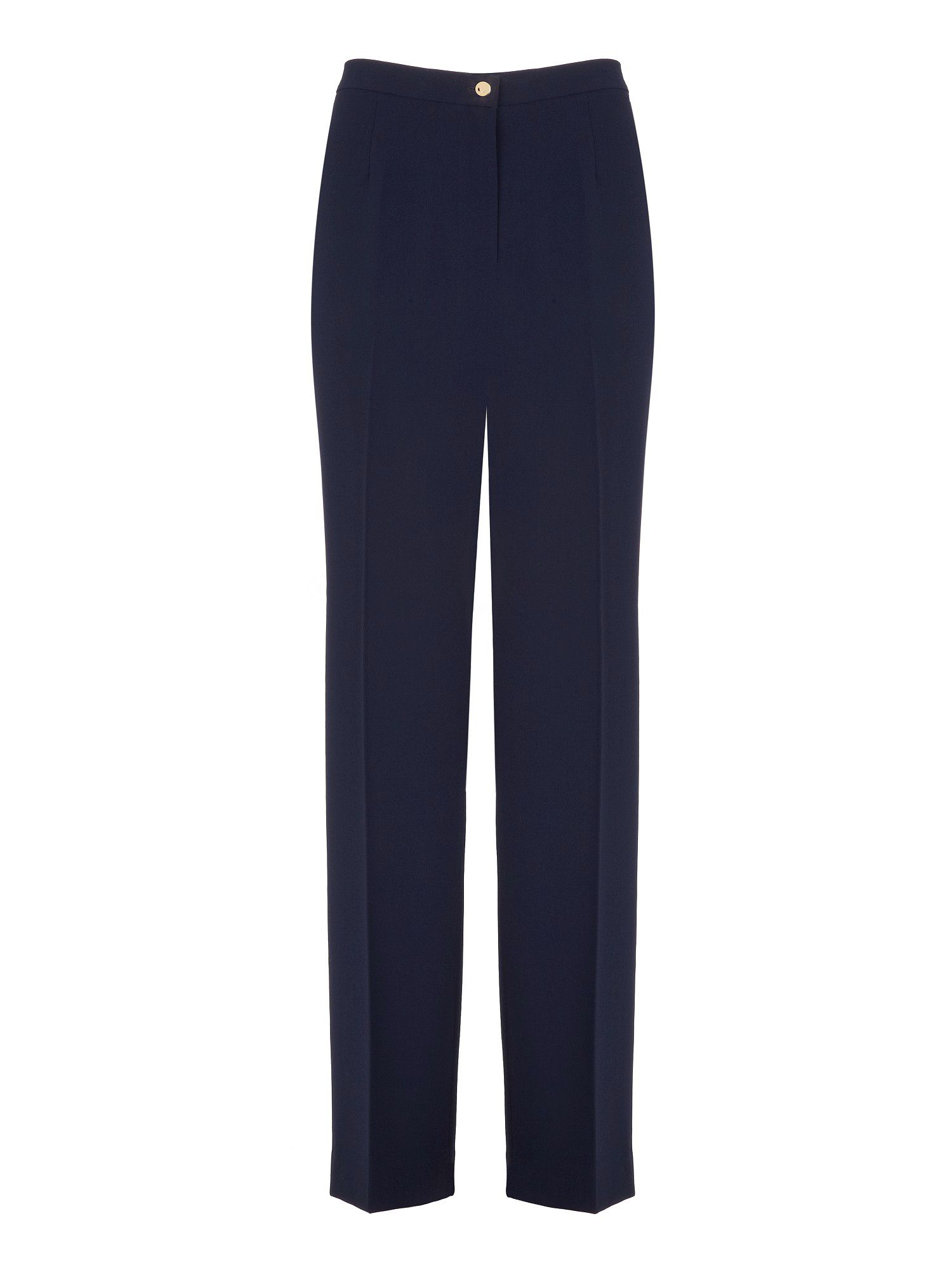 Navy crepe straight leg trouser