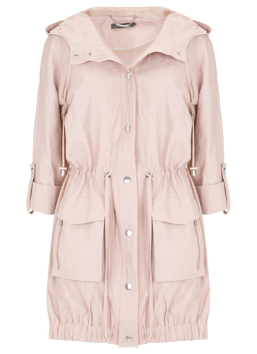 Shell pink hooded parka