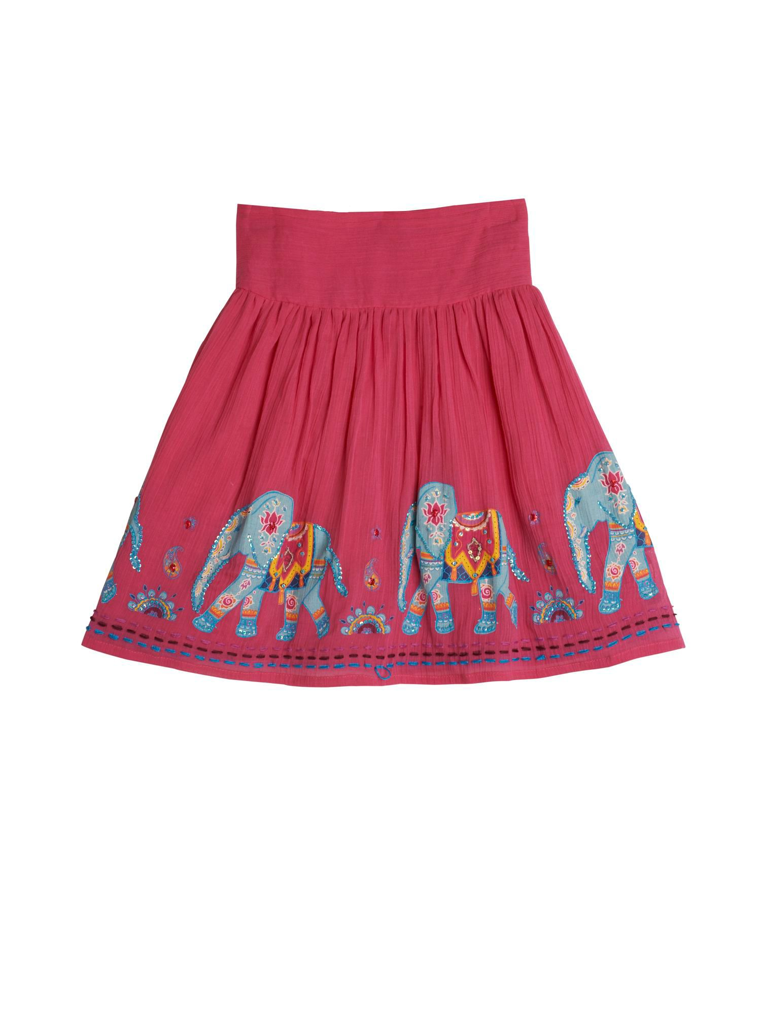 Girl`s Indian Elephant Print Skirt