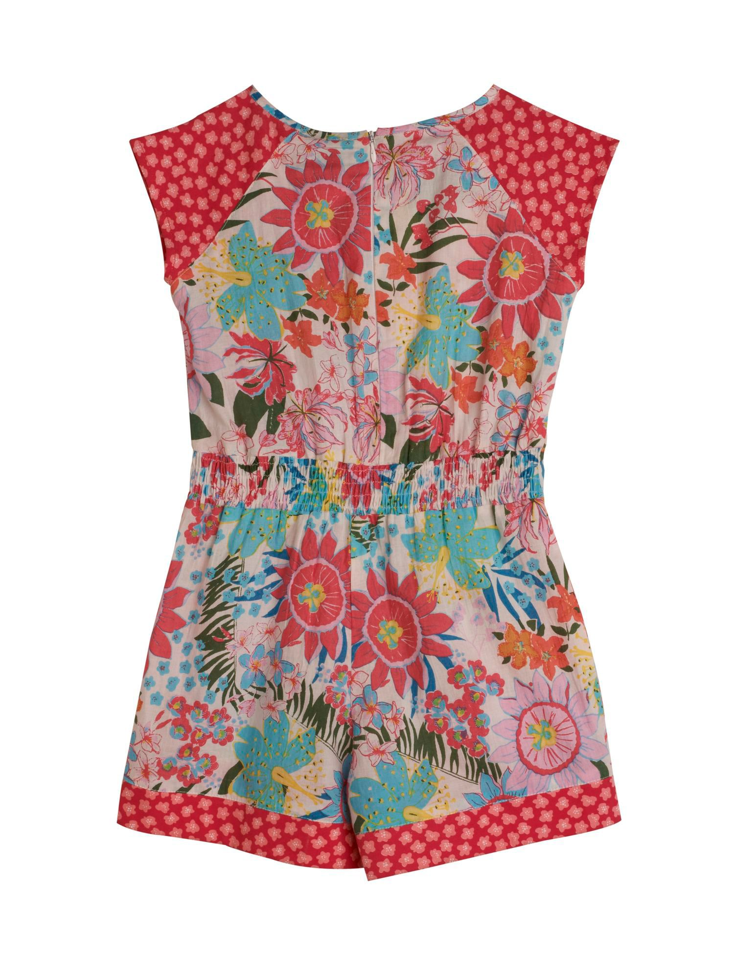 Girl`s Tropical Floral Print Playsuit