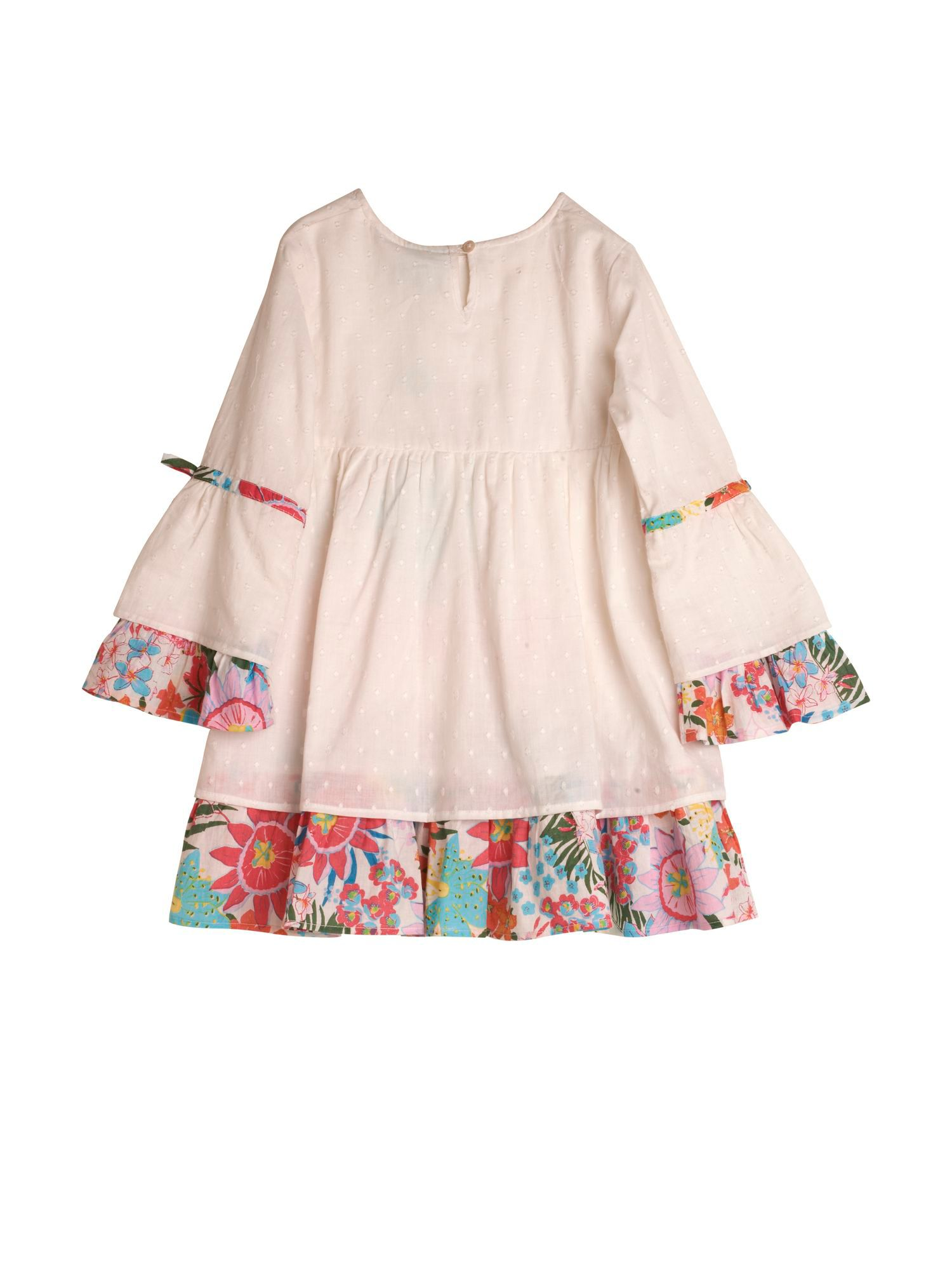 Girl`s Tropical Floral Print Kaftan