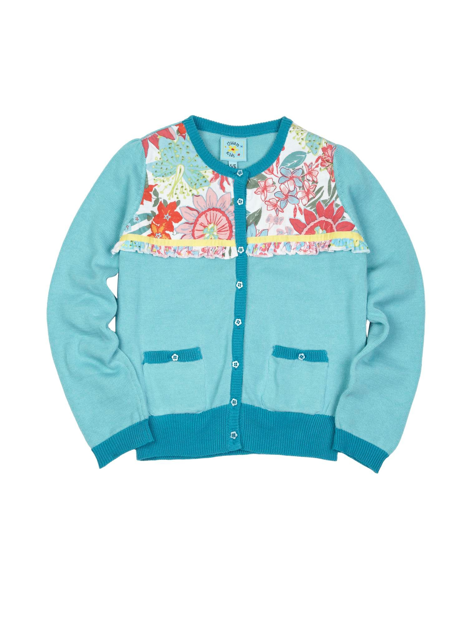 Girl`s Tropical Floral Panel Cardigan