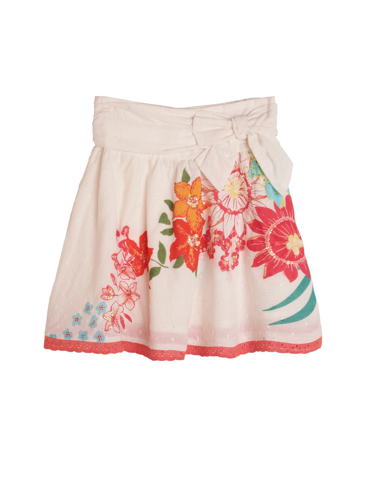 Girl`s Tropical Floral Print Skirt
