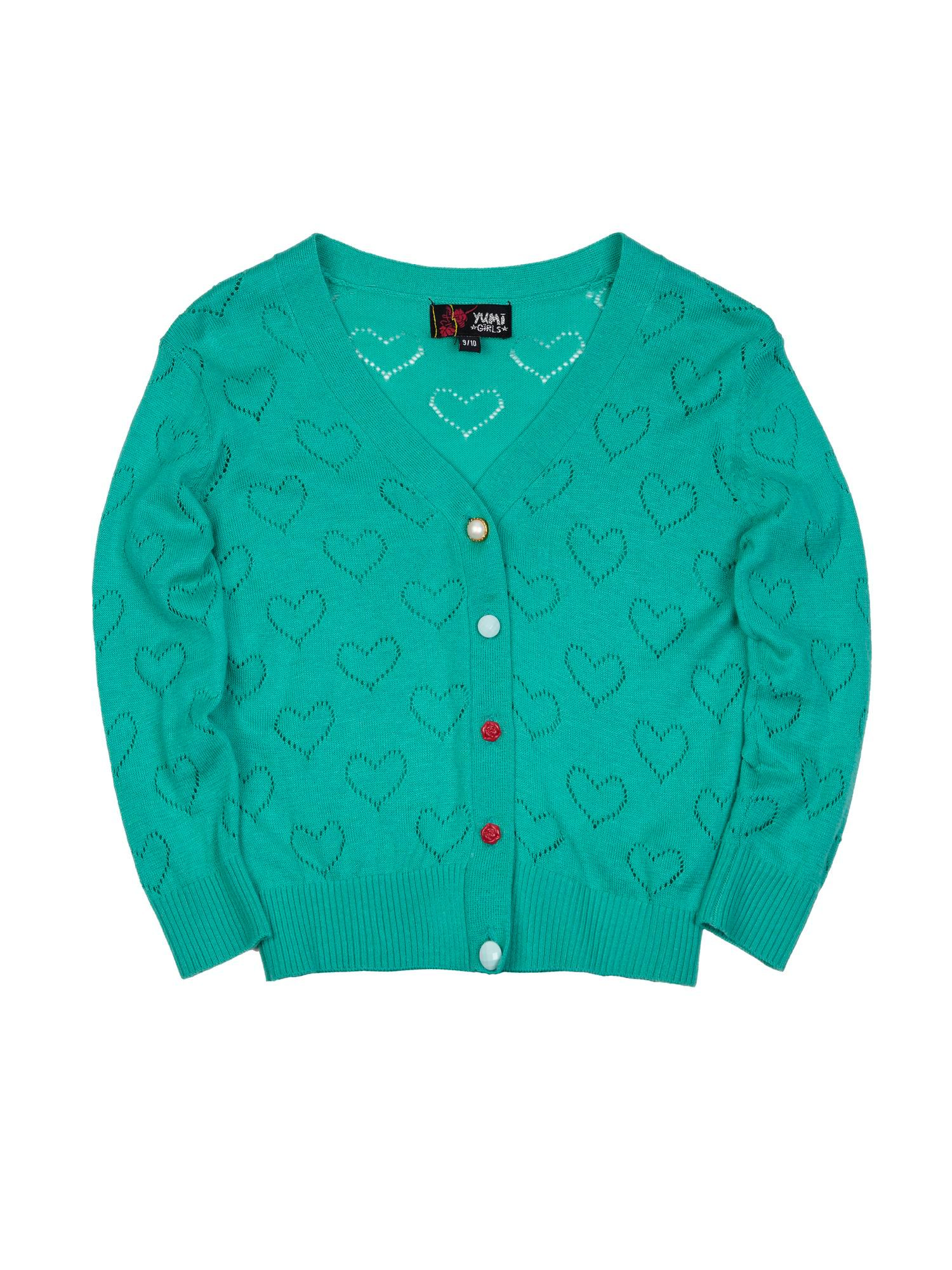 Girl`s Heart Pointelle Cardigan