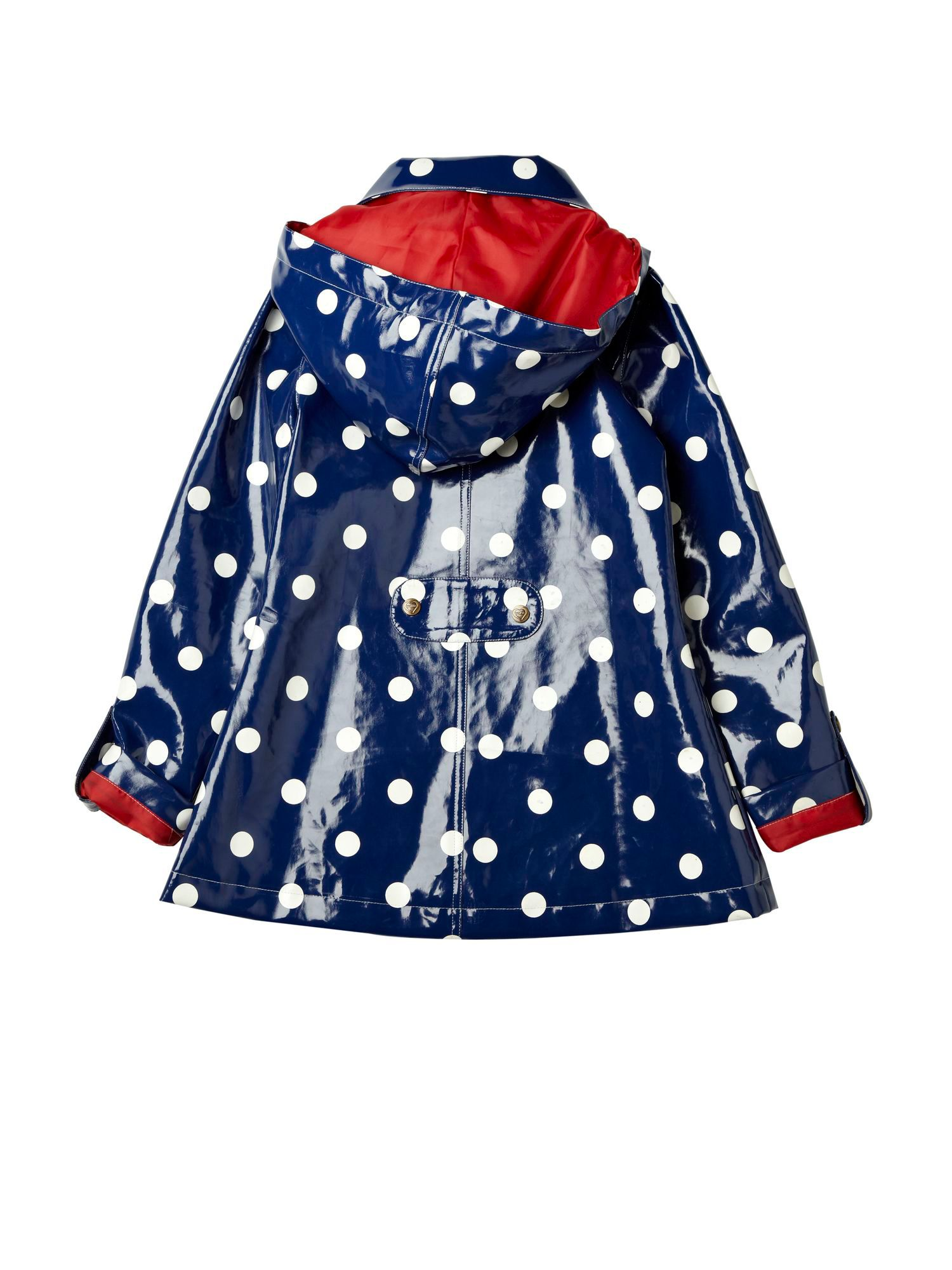 Girl`s Hooded Polka Dot Rain Coat