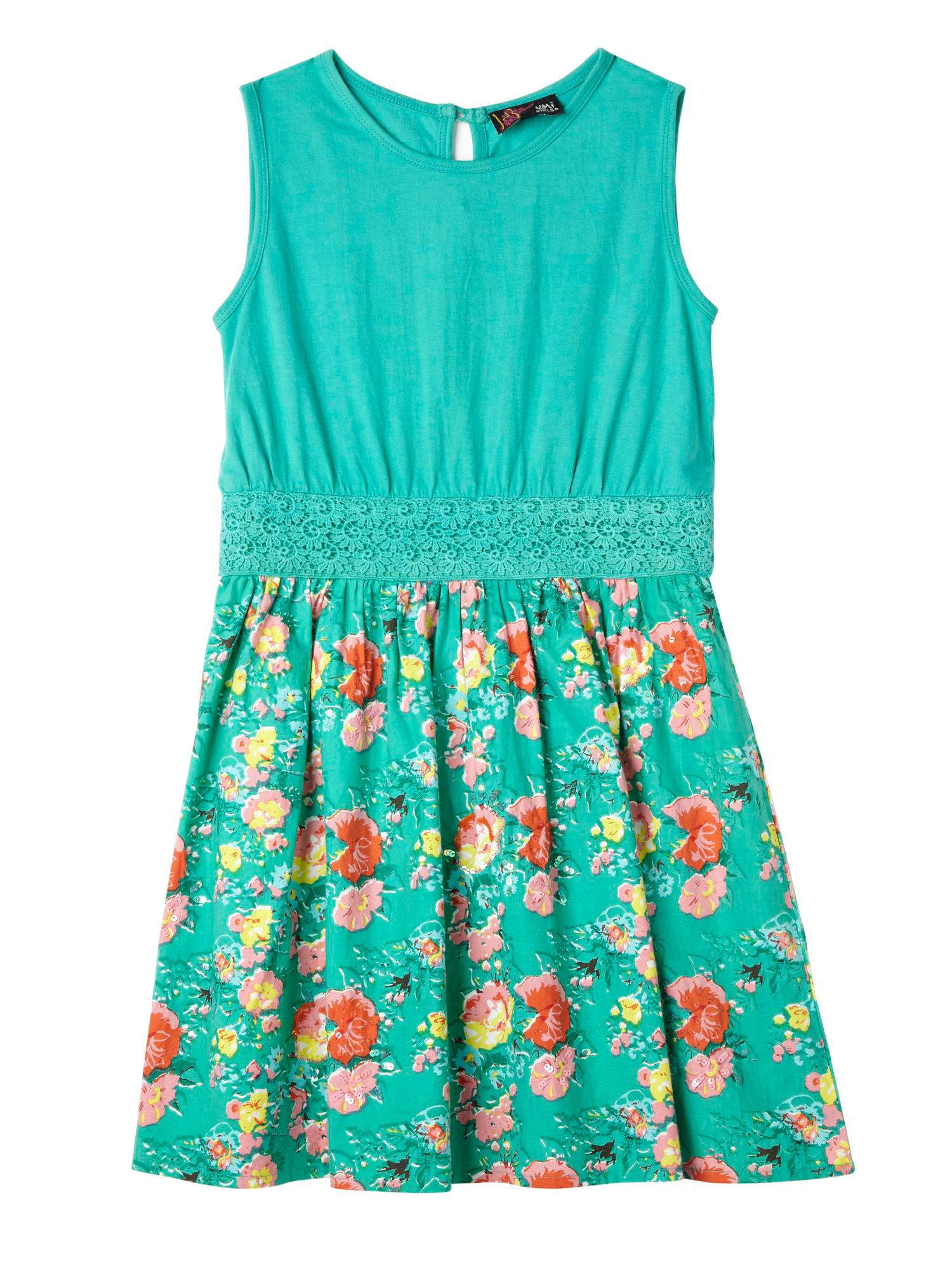 Girl`s Floral and Jersey Sequin Dress