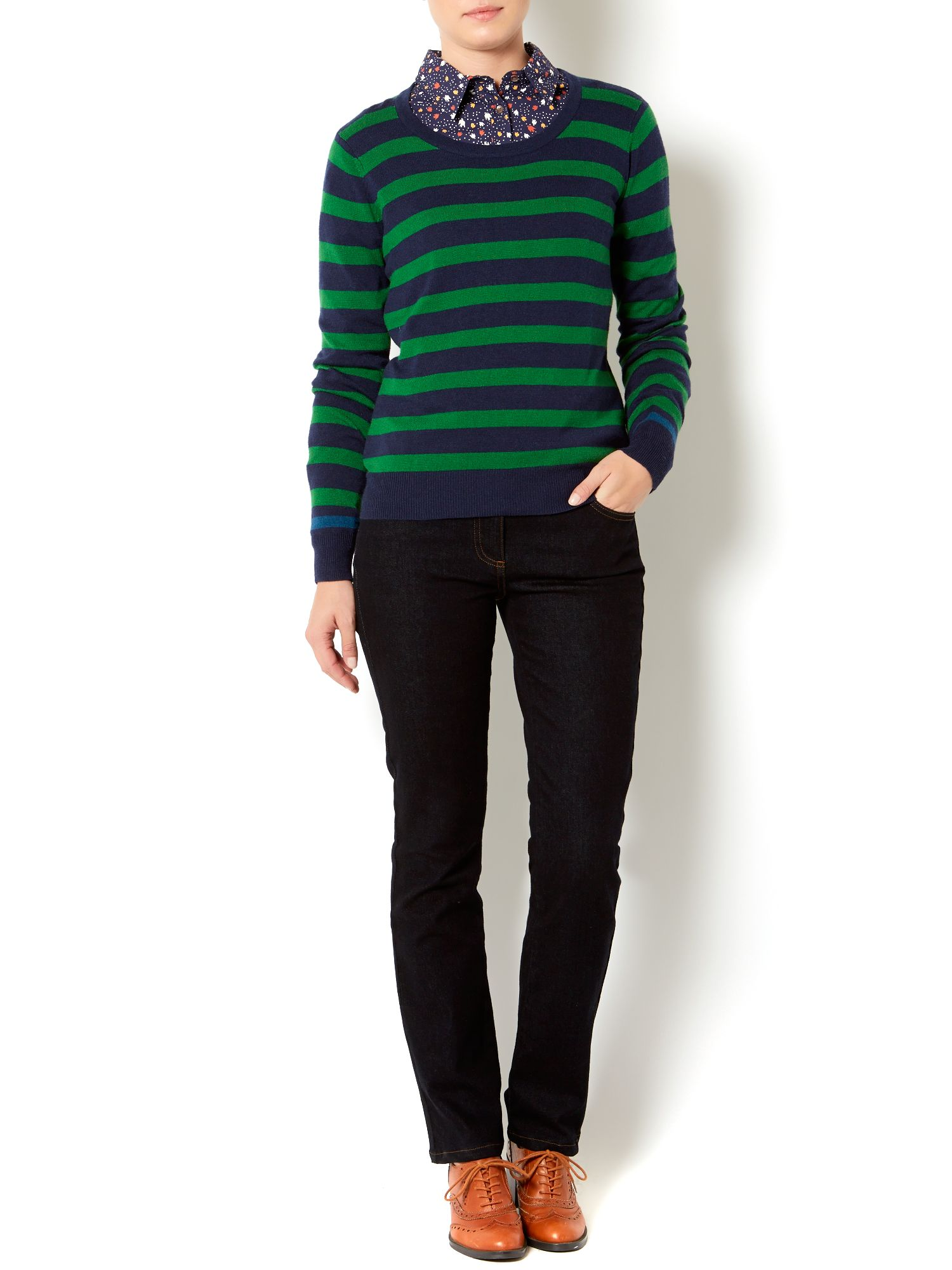 Ladies contrast stripe jumper