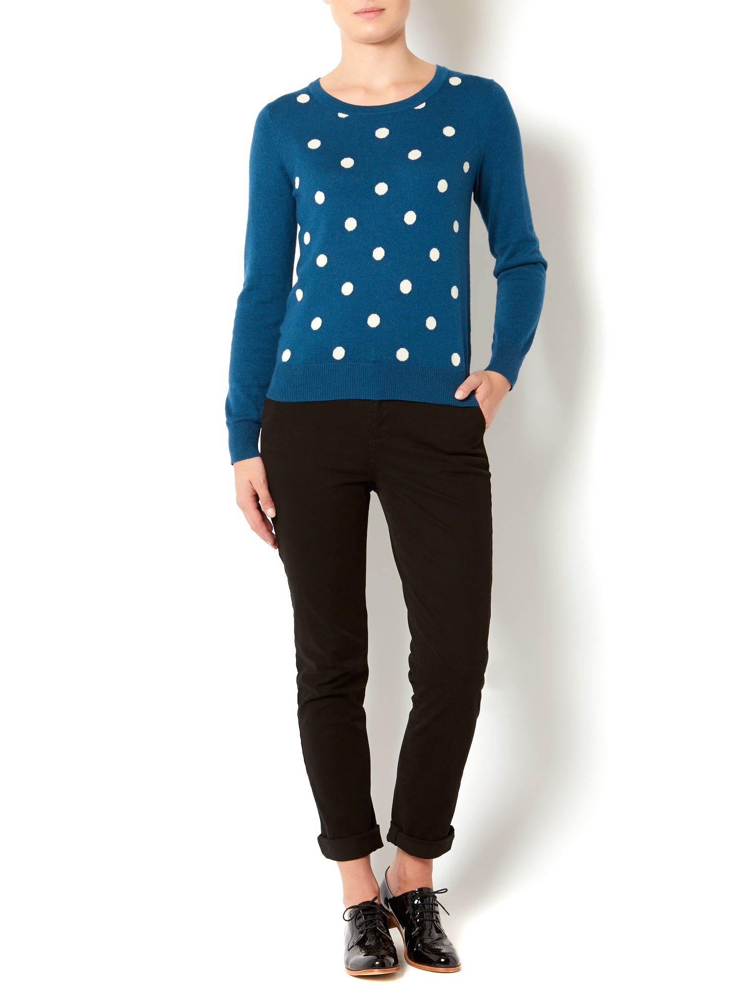 Ladies contrast spot jumper