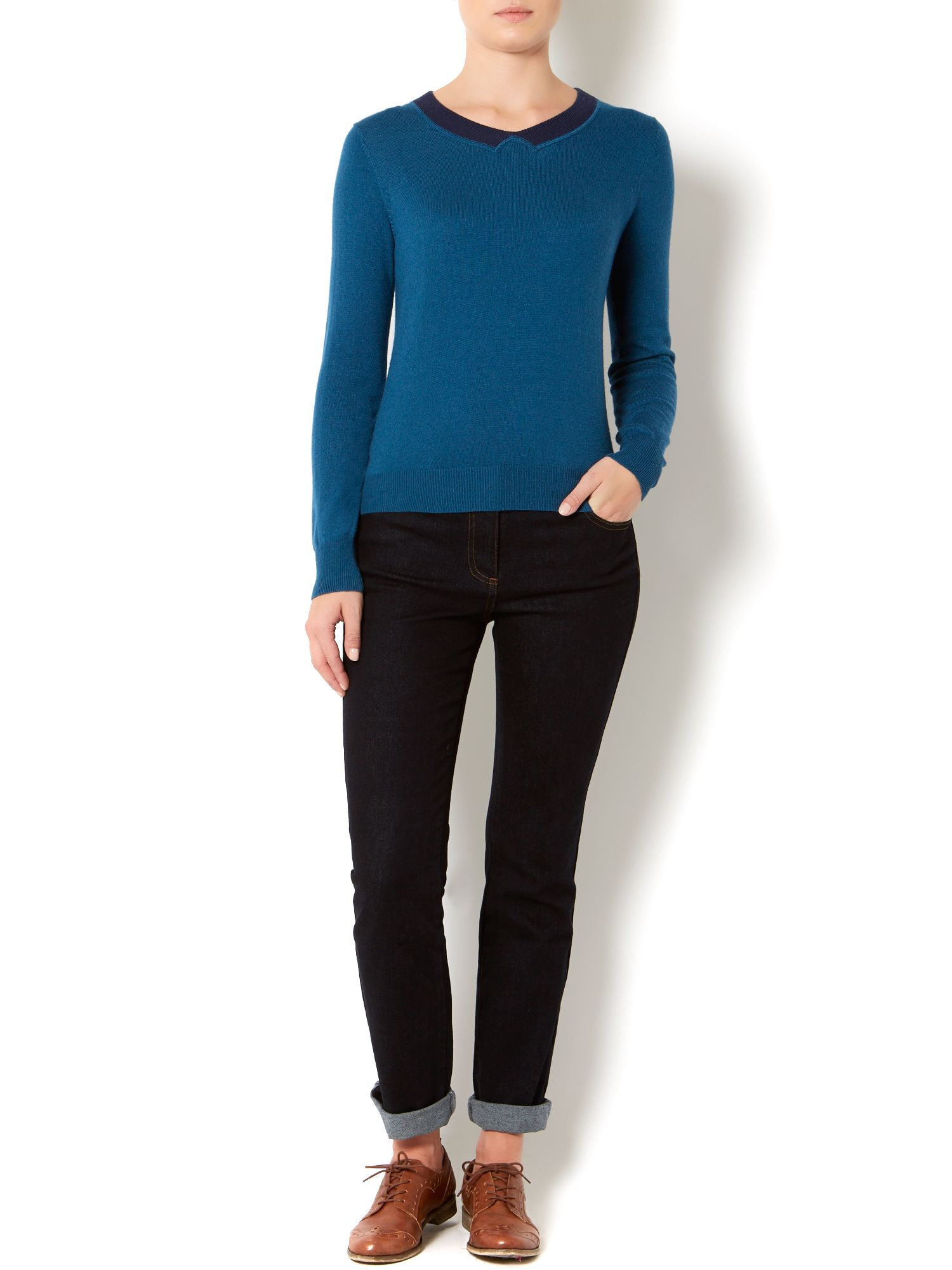 Ladies intarsia collar jumper