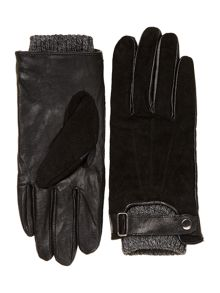 Suede glove with knitted cuff