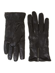 Leather glove with zip cuff