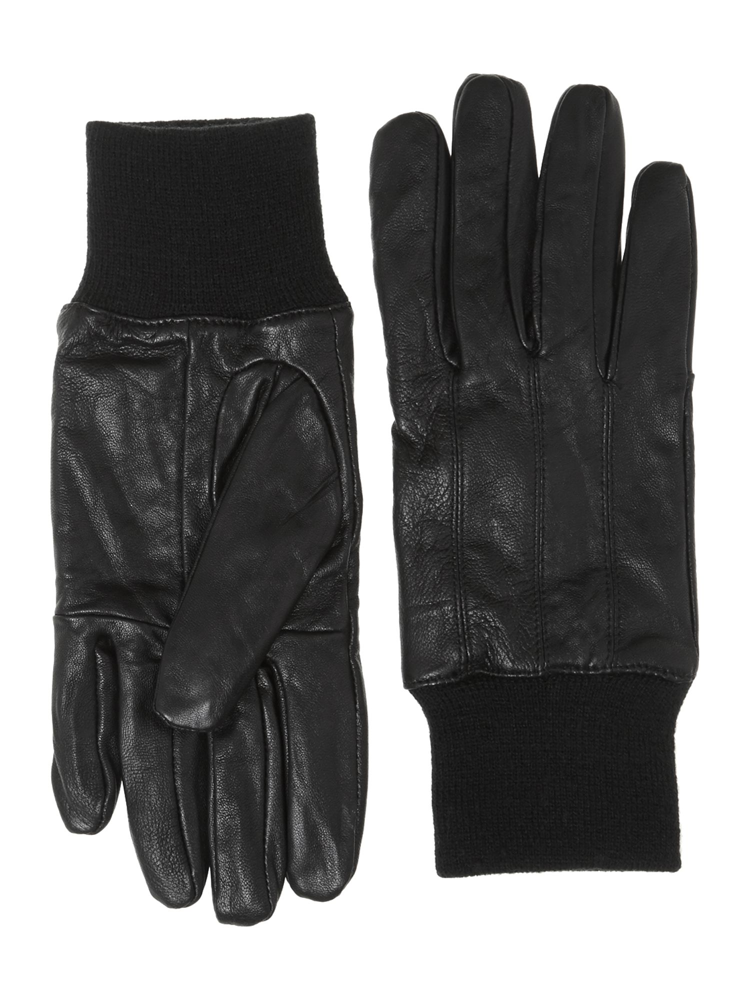 Leather glove with rib cuff
