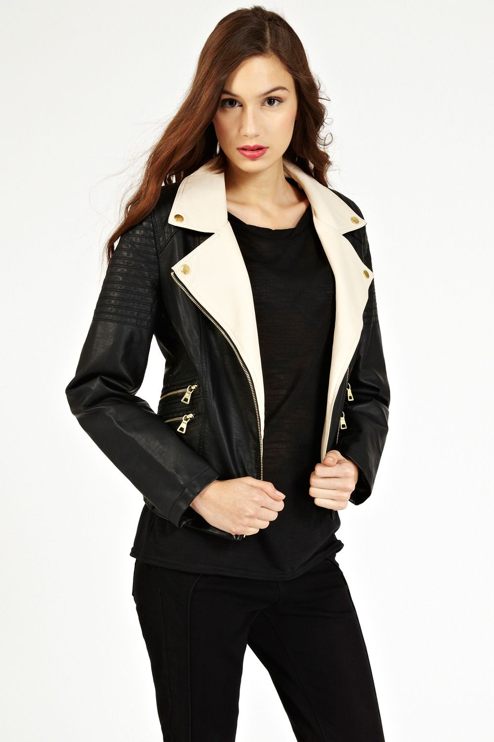 Colour block pu biker