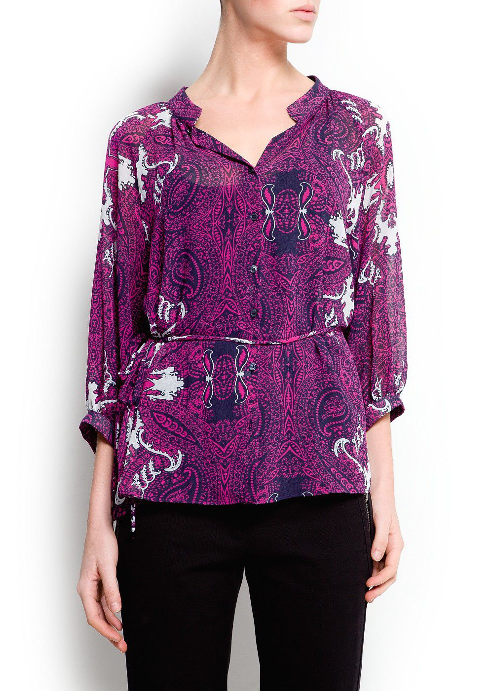 Printed sheer blouse
