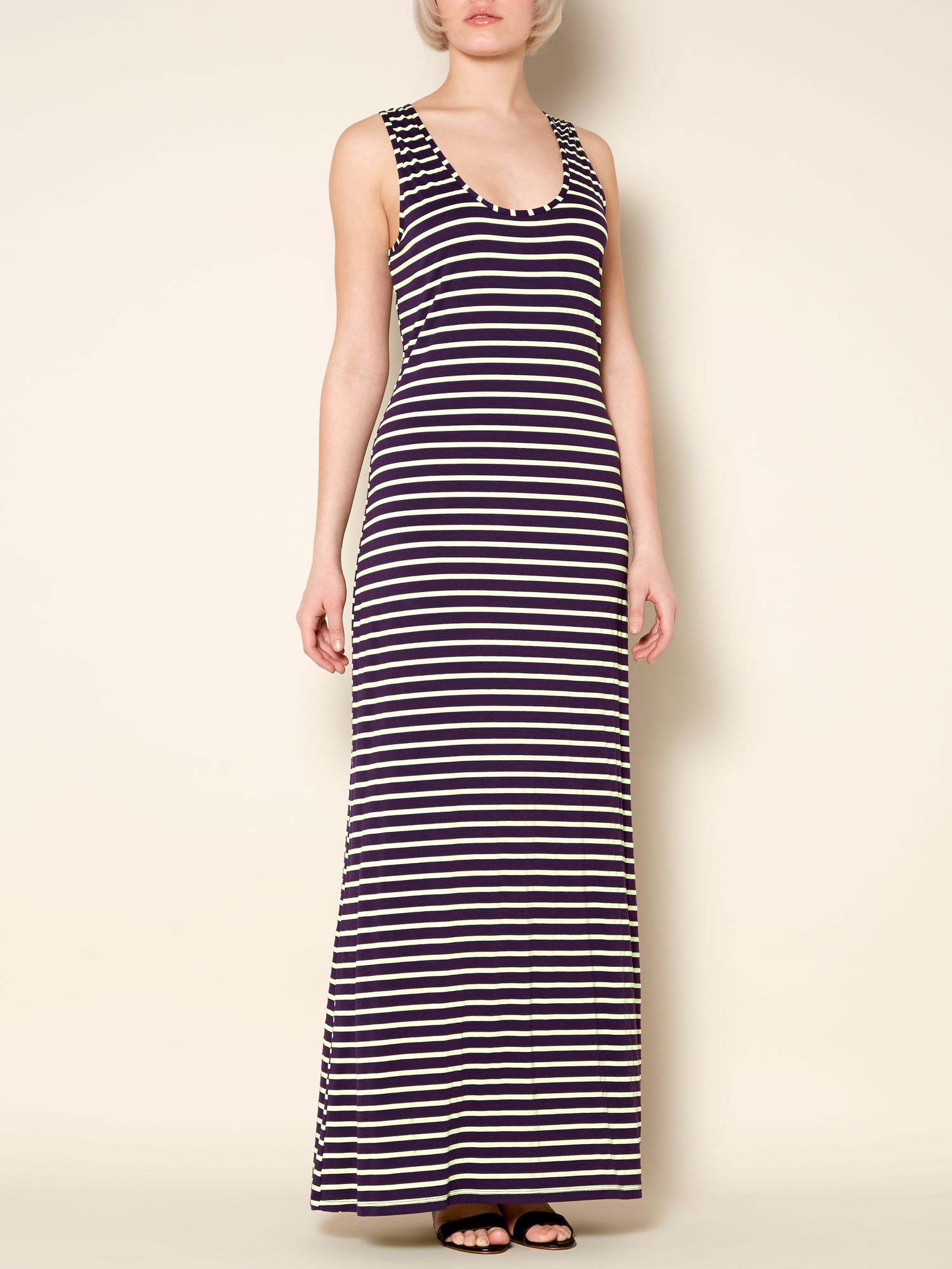 Contrast stripe maxi dress