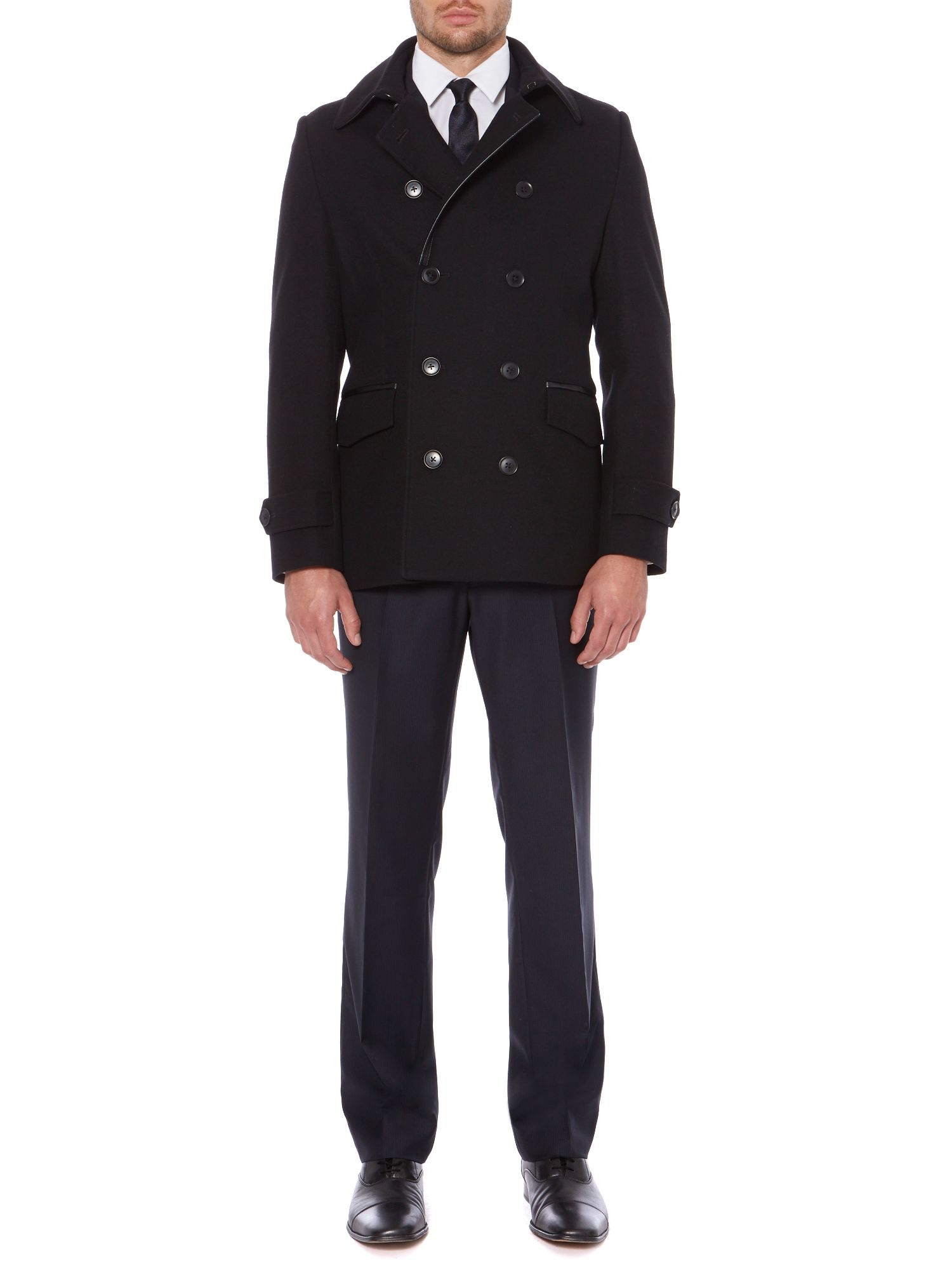 Nevada Double Breasted Pea Coat with Trim Detail
